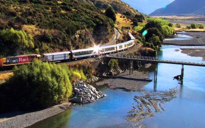 TranzAlpine train by the Waimakariri River