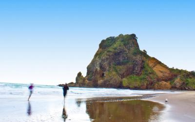 Walking barefoot on Piha beach, Lion Rock in the background - Auckland Optinonal Activities