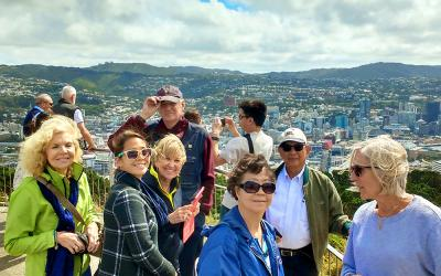 Group of people at the Mt Victoria lookout in winter