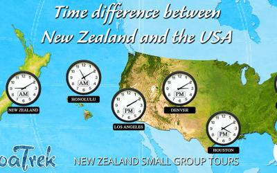Time Zone Map showing NZ and USA times