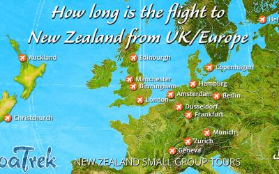 Flight map showing how long it takes to fly to New Zealand from the UK?