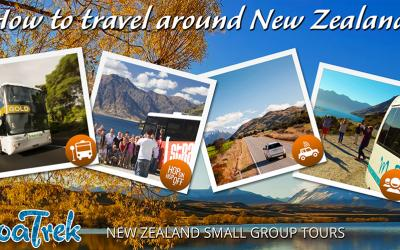 How to travel around New Zealand options in images - public transport, backpacker bus, self drive, group tour