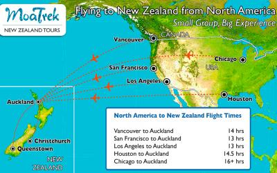 Flight map showing how long it takes to fly to New Zealand from the USA