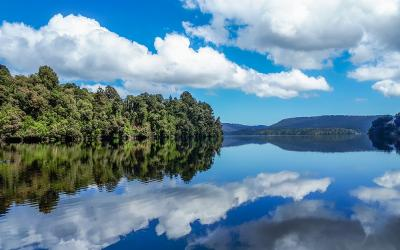 Lake reflection in Westland Tai Poutini National Park