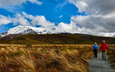Day Walkers in Tongariro National Park with Mt Ruapehu