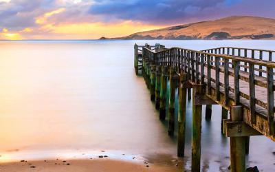 Sunset views of the Hokianga Harbour from the Omapere Wharf