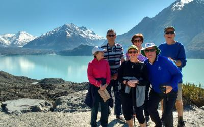 Walkers at the Tasman Glacier Lake lookout in Mt Cook - MoaTrek Small Group Tours