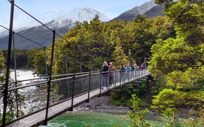 Crossing a bridge near the Blue Pools, Wanaka