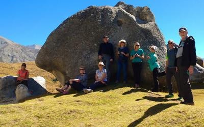 Small tour group at Castle Hill rocks in Canterbury