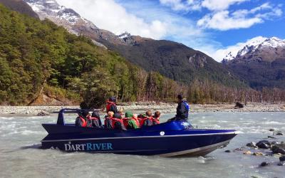 The Dart River jetboat, mountain scenery near Queenstown