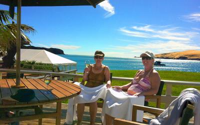 Relaxing after a swim in Hokianga - NZ North Island Tour