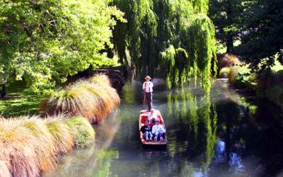 Punting on the river in beautiful Christchurch - NZ Tour both islands