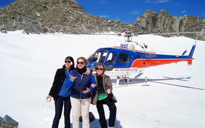 3 ladies exploring the magic of Franz Josef Glacier by helicopter, 3 week itinerary