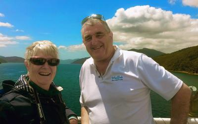 MoaTrek guide and guest on the Cook Strait ferry - NZ Tour both islands