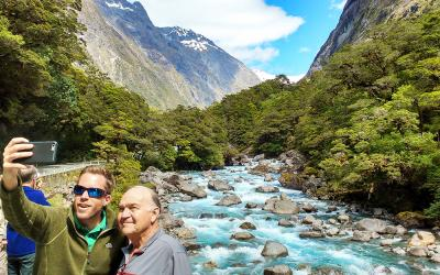 Selfie on the Milford Road at the Hollyford River
