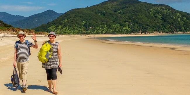 Walking on the beach in Abel Tasman with MoaTrek