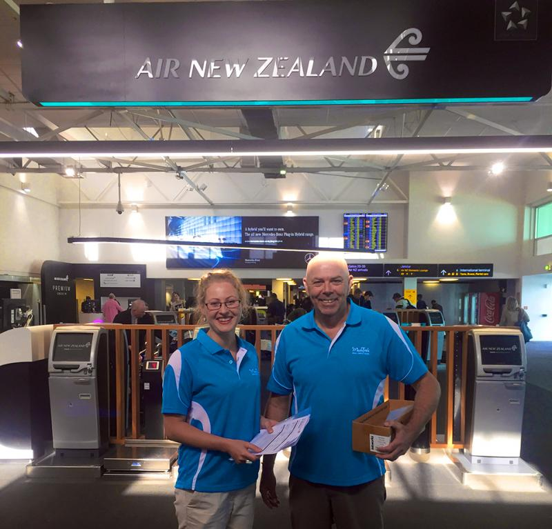 Friendly MoaTrek team waiting at Auckland airport