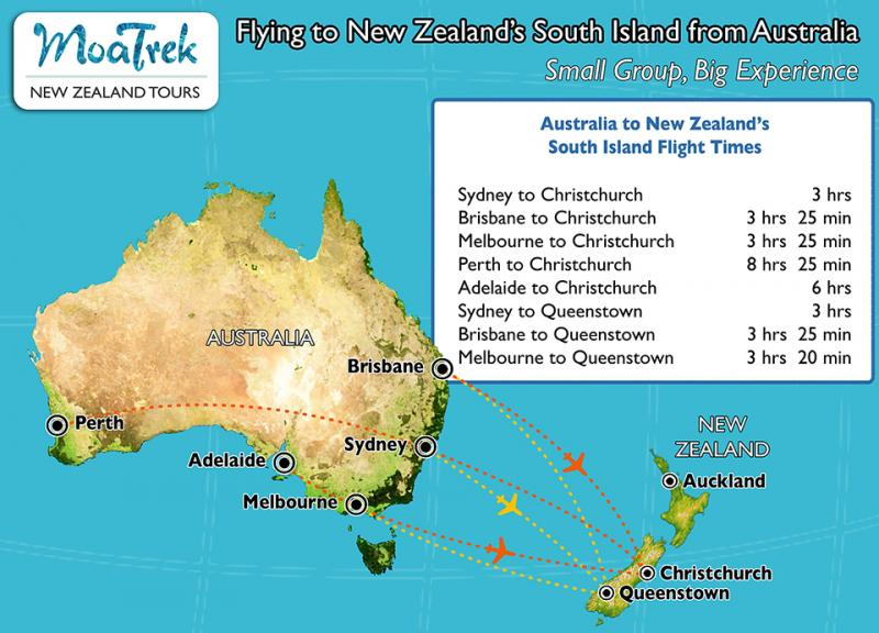 Flight map from Austraila to New Zealand - Getting to NZ