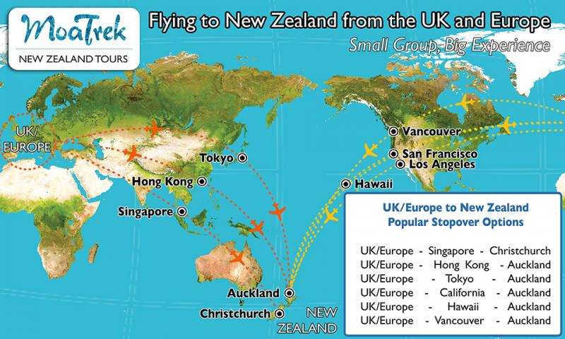 Flight map from Europe to New Zealand - Getting to NZ