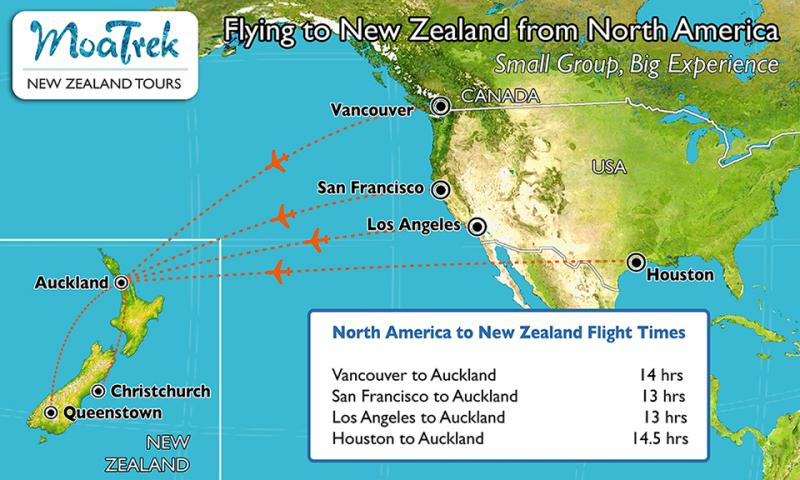 Flight map from North America to New Zealand - Getting to NZ