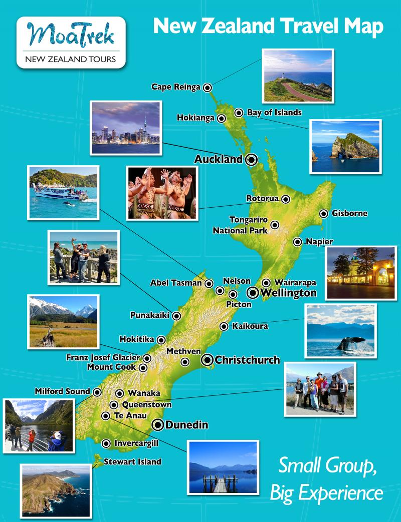 MoaTrek's handy NZ Travel Map - Pictures of Milfod Sound, Queenstown, Abel Tasman, Mt Cook, Bay of Islands, Rotorua