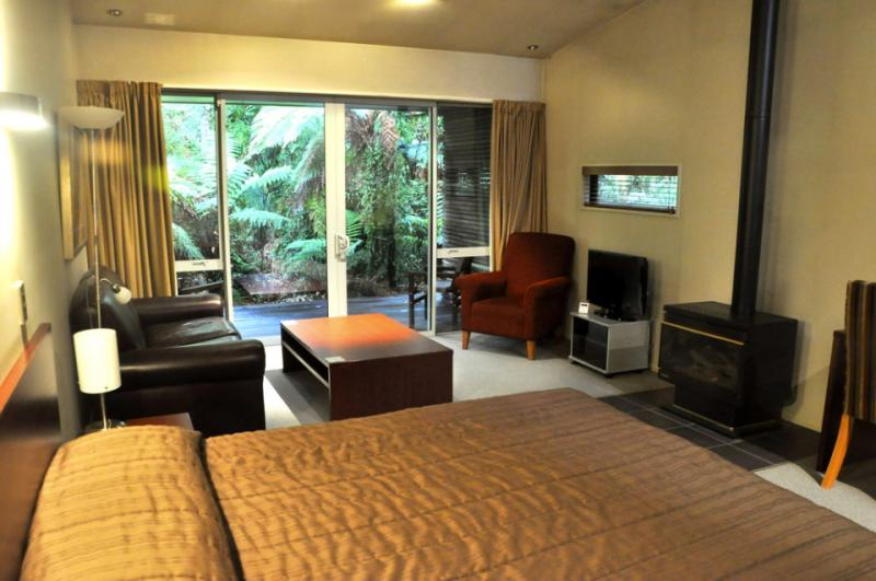 Your room right amongst rainforest at Franz Josef - MoaTrek Tour Accommodation