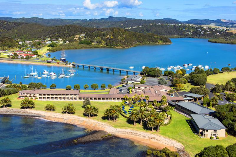 Aerial photo of the Copthorne Bay of Islands - MoaTrek Tour Accommodation