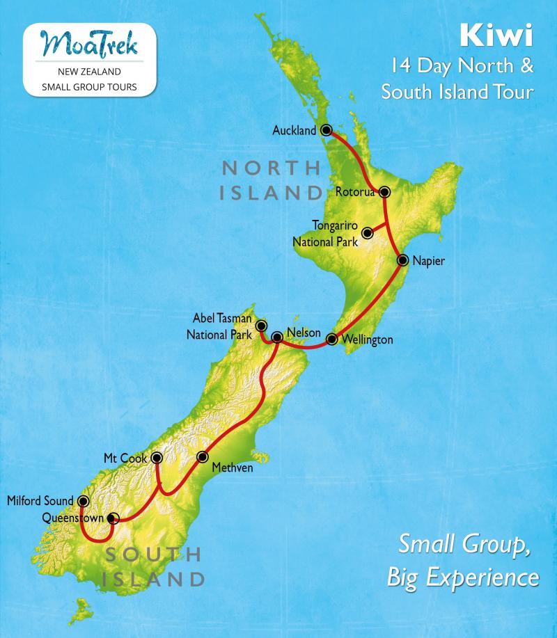 Kiwi 14 Day New Zealand Tour  MoaTrek