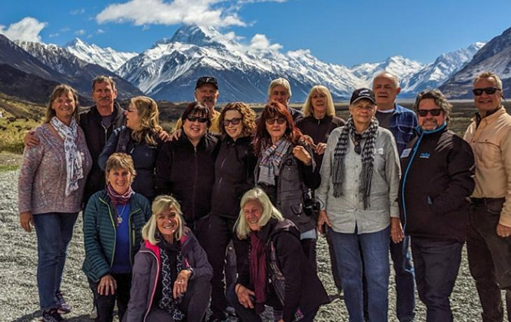 Susan and her MoaTrek tour group at Mt Cook