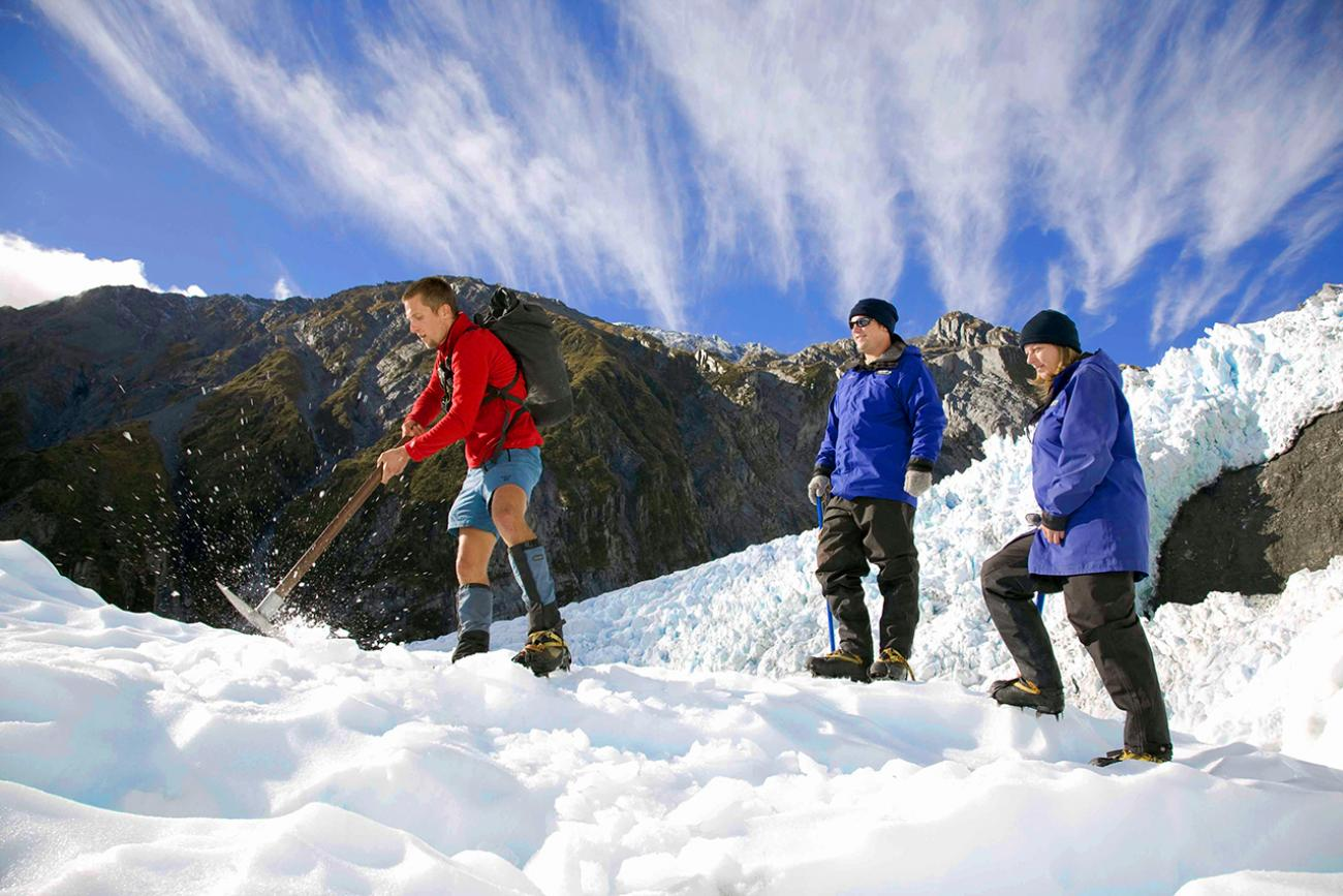 Hiking in the snow, Franz Josef Glacier