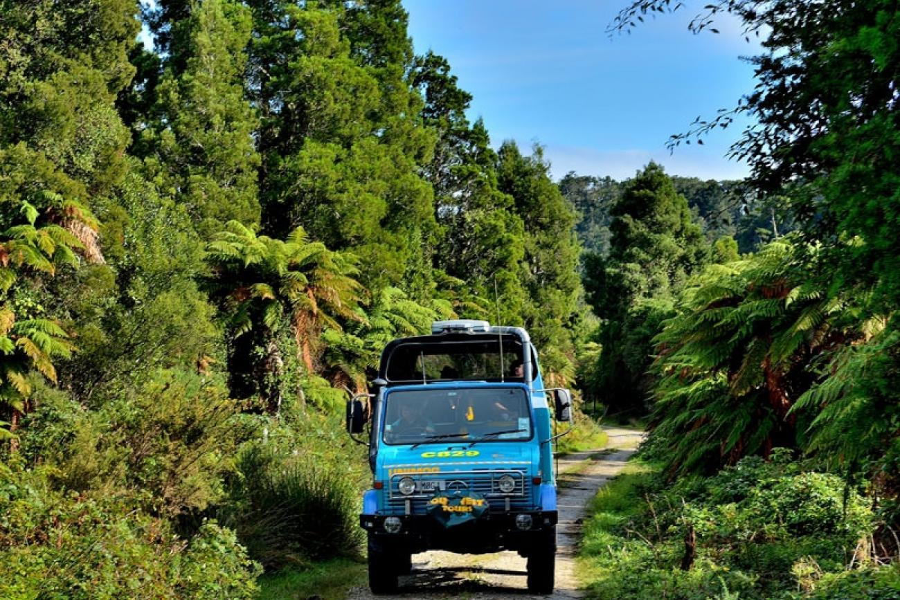 Offroad vehicle exploring the West Coast countryside