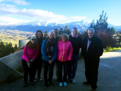 Happy group at the Wakatipu lookout, Crown Range
