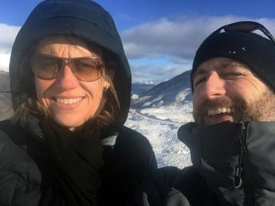 Selfie in the snow on the Crown Range, Queenstown