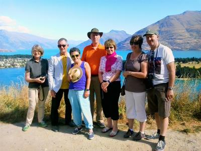 Group enjoying the views from Queenstown Hill - MoaTrek