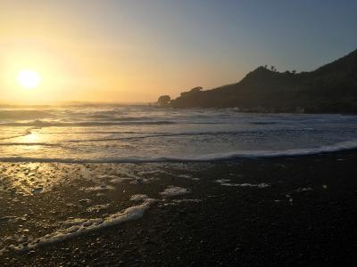 Sunset from Punakaiki Beach, West Coast