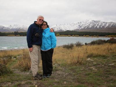 Photo stop in front of the Southern Alps
