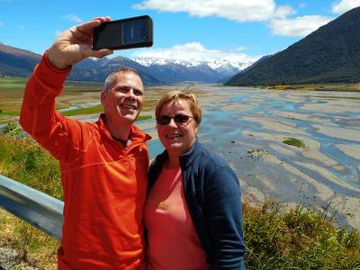 Selfie at Arthurs Pass mountain views