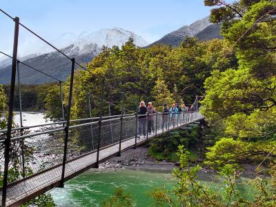 Crossing the river at Haast MoaTrek Tour Gallery
