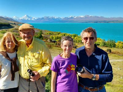 Happy travellers at Lake Pukaki, Mt Cook - MoaTrek Tour Gallery