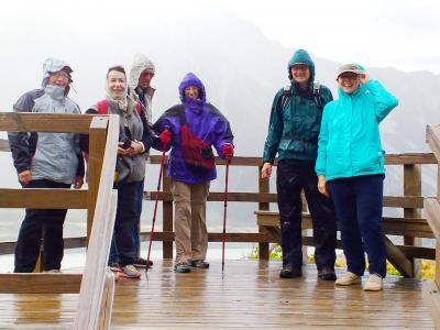 Happy walkers in the rain at Mt Cook - MoaTrek Tour Gallery