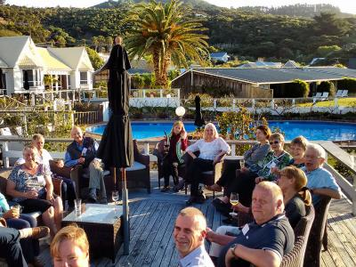 Drinks on the deck at the Hokianga - MoaTrek Tour Gallery