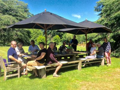 Lunch on the lawn at Akaunui Homestead in Canterbury
