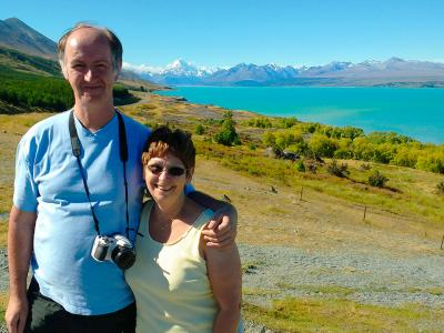 Happy couple at Lake Pukaki, Mt Cook - MoaTrek Tour Gallery
