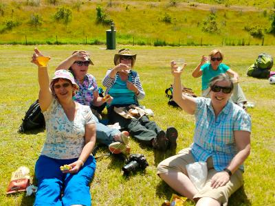 Alfresco lunch in the Otago sunshine - MoaTrek Tour Gallery