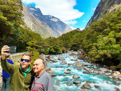 Father and son selfie, Fiordland - MoaTrek Tour Gallery