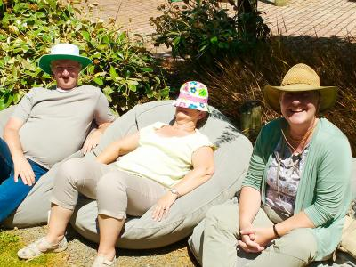Relaxing in the sunshine at Forest Wines - MoaTrek Tour Gallery