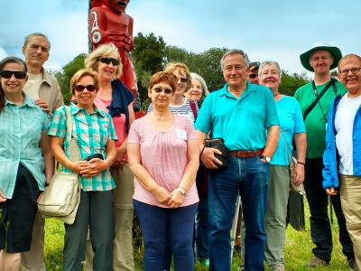 Group Photo at Maori Carving - MoaTrek Tour Gallery