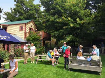 Enjoying a drink in the garden bar at the Cardrona Hotel - MoaTrek Tour Gallery February 2017