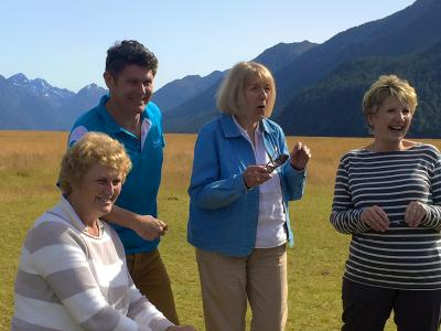 Guide and happy travellers, Milford Road - MoaTrek Tour Gallery February 2017