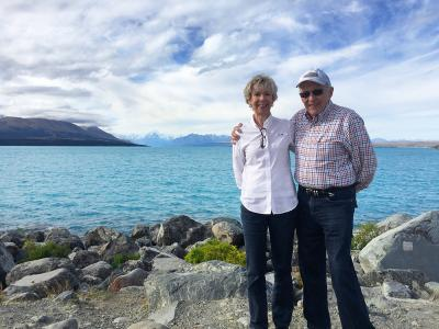 Handsome couple at Lake Pukaki, Mt Cook in the distance - MoaTrek Tour Gallery February 2017